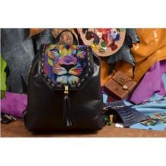 Женский рюкзак с принтом Лев из красок