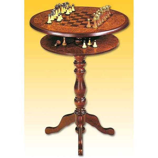 Стол с шахматной доской круглый