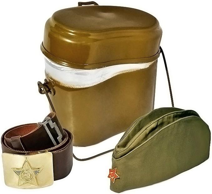 Набор «Армейский котелок» с пилоткой и солдатским ремнем