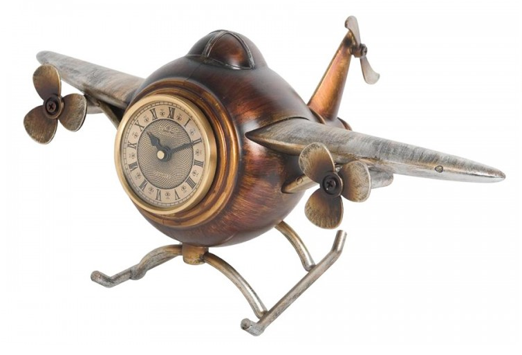 Декоративные кварцевые настольные часы Самолёт