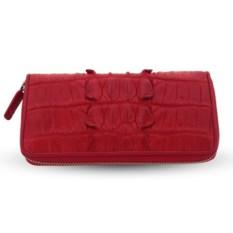 Красный кошелек из кожи хвоста крокодила