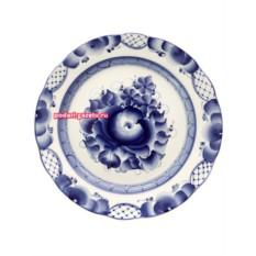Десертная тарелка Гжель с росписьюДубок