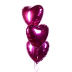 Фольгированные шары Сердца (цвет — фуксия)