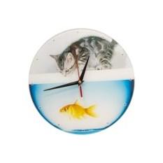 Настенные часы Котенок с рыбкой