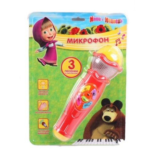 Игрушка Микрофон Маша и Медведь (3 песни, свет и звук)