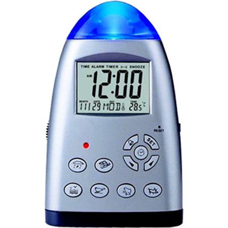Серебристые часы-календарь с ночником