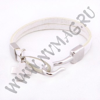 Кожаный браслет, белый с застежкой