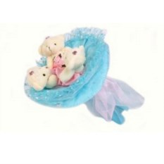 Букет из мягких игрушек Медвежата (цвет — голубой)