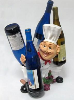 Подставка для вина «Повар, две бутылки по бокам»