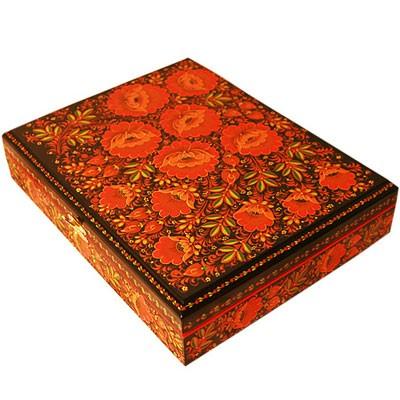Шкатулка для документов с хохломской росписью