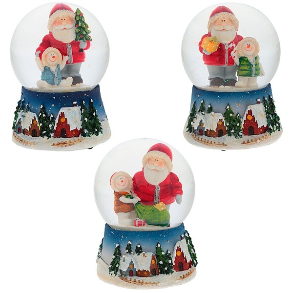 Декоративная фигурка в стеклянном шаре Санта с музыкой