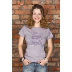 Серая женская именная футболка Forever young