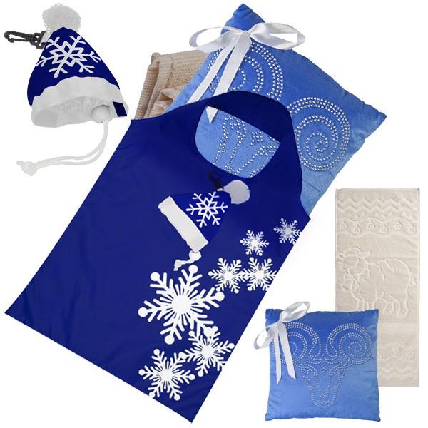 Новогодний набор в сумке шапке: полотенце и подушка Овечка