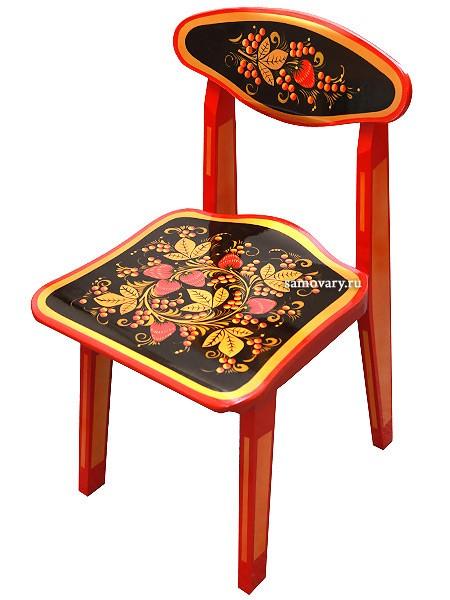Детский стул с художественной Хохломской росписью