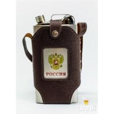 Большая фляжка в чехле Россия