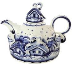 Набор для чая Деревенька с художественной росписью гжель