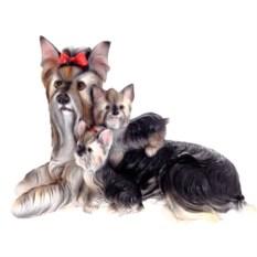 Декоративная садовая фигура Йоркширский терьер со щенками