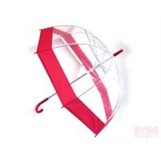 Прозрачный зонт с красной окантовкой