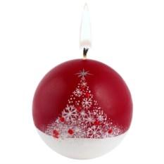 Свеча ручной работы «Снежный лес» в форме шара