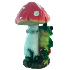 Декоративная садовая фигура Лягушка с мухоморами