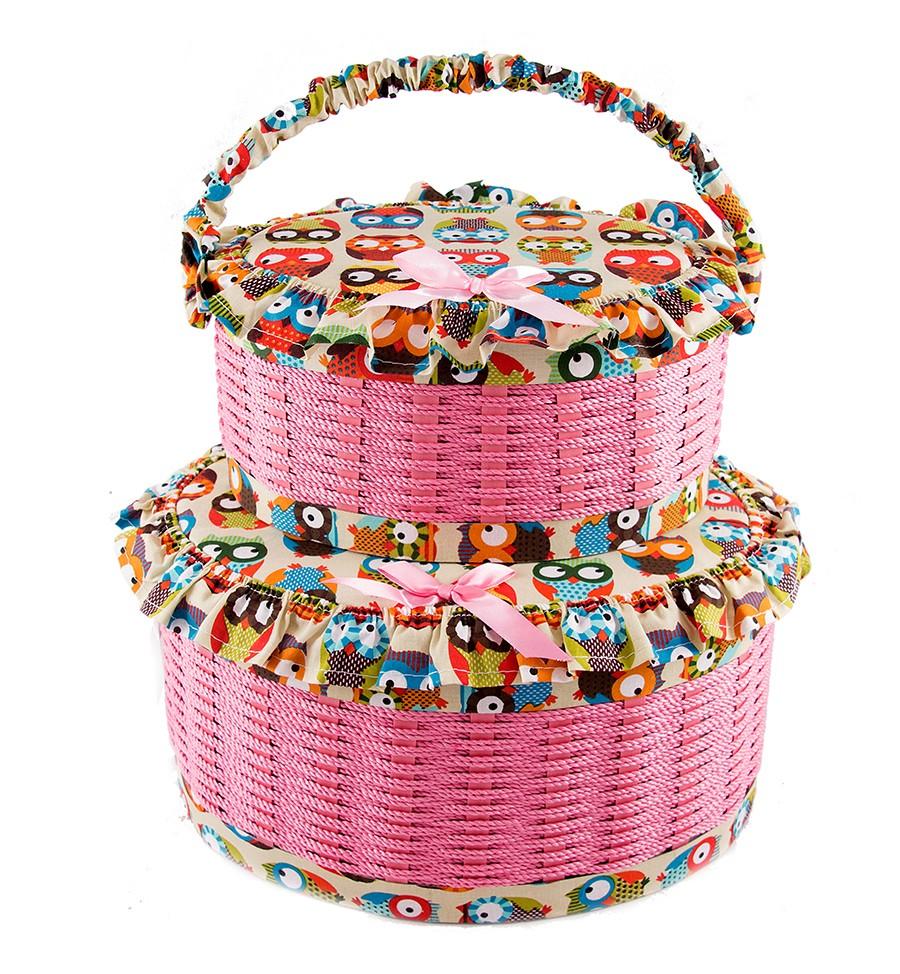 Набор розовых шкатулок для рукоделия из 2-х шт.