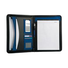 Папка для документов с блокнотом и калькулятором, синяя