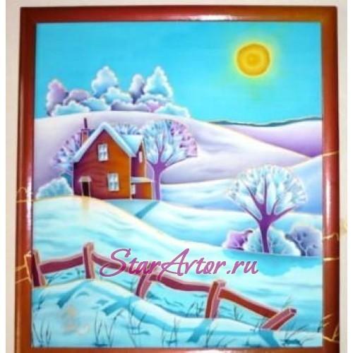 Авторская картина в технике батик Морозный день