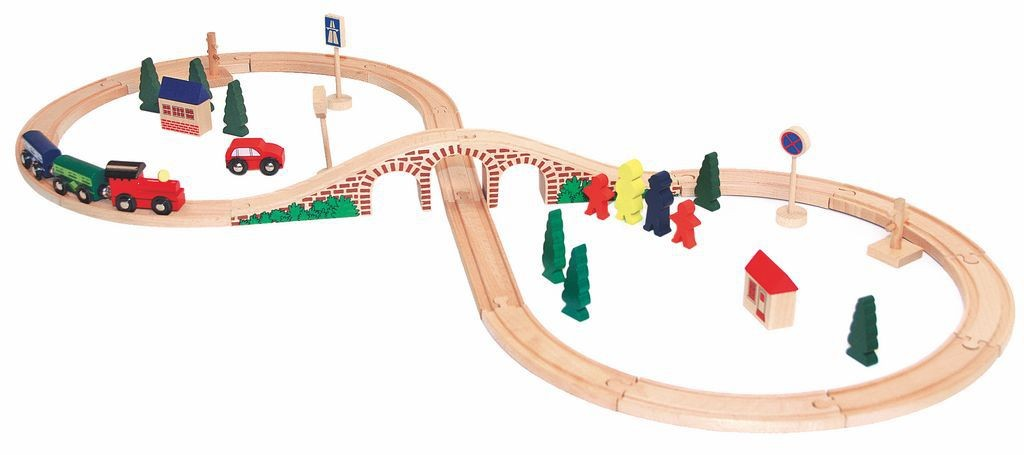 Набор Woody Деревянная железная дорога Восьмерка, 40 элементов