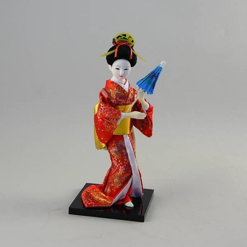 Коллекционная фарфоровая фигурка гейши с зонтиком