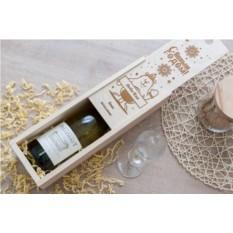 Коробка для вина с гравировкой Новогодний мишка