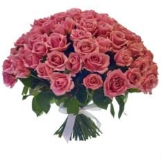 Букет из 101 розовой розы высотой 50 см
