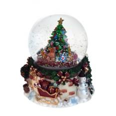 Новогодний музыкальный сувенир Снеговик у новогодней елки