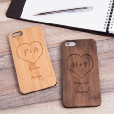Деревянный чехол для iPhone Идеальная пара с гравировкой