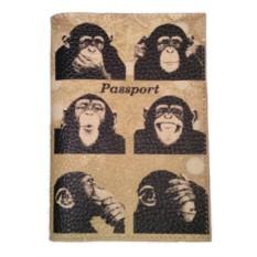 Кожаная обложка для паспорта с обезьянами Monkey