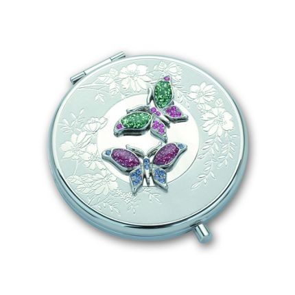 Косметическое круглое зеркало Бабочки