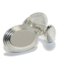 Серебряные овальные запонки Лесенки