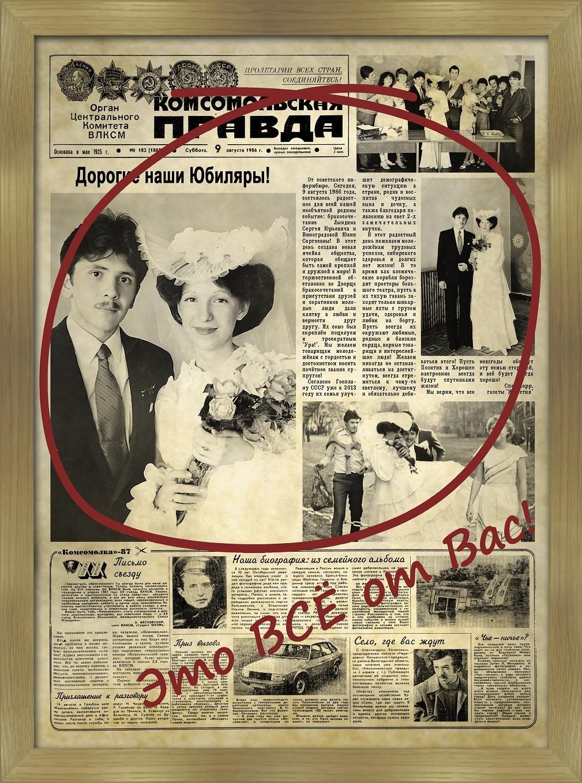 Газета Правда с поздравлением на день рождения и юбилей 36