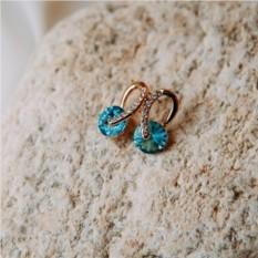 Серьги «Золотые подковы» с голубыми камнями Сваровски