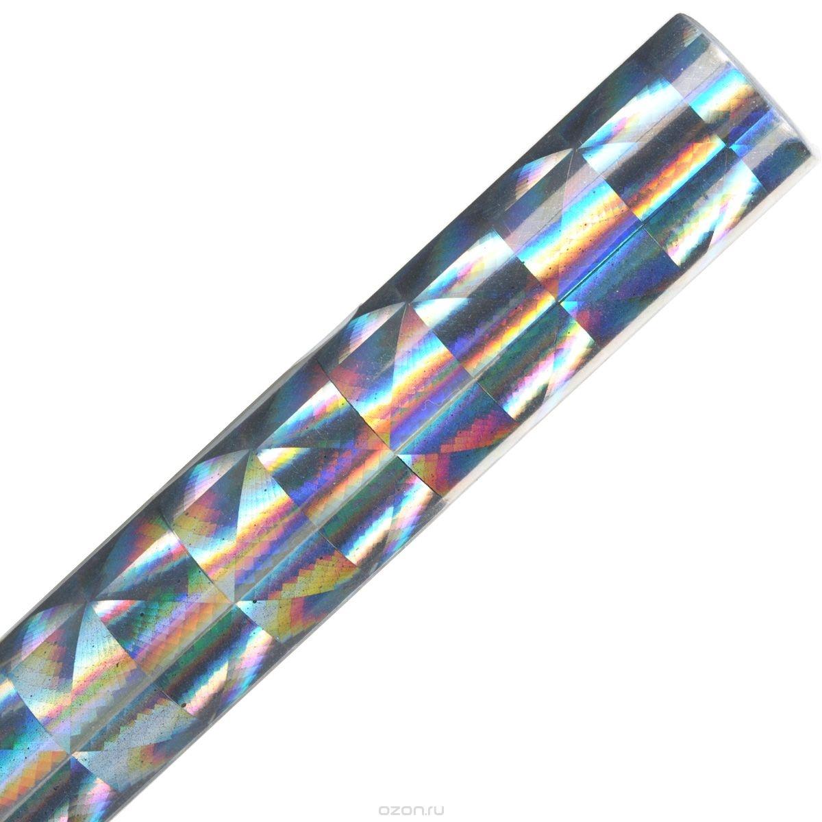 Голографическая бумага Folia Чешуя, самоклеящаяся, серебристая (40x100 см)
