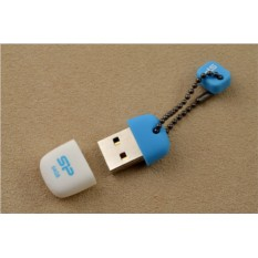 Флешка-брелок Silicon Power USB 2.0 64 Gb (бело-голубая)