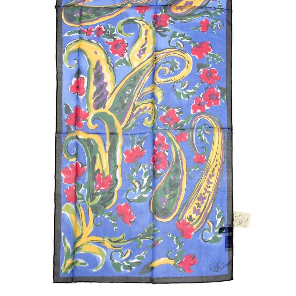 Женский шарфик с синим фоном с абстрактными цветочками Gaia