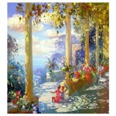 Картина-раскраска по номерам на холсте Дети на террасе
