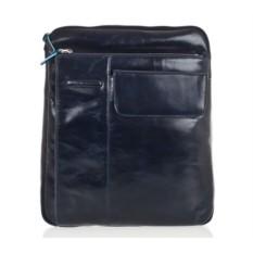 Темно-синяя кожаная сумка с ремнем Piquadro Blue Square