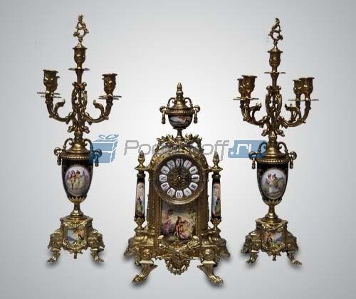 Набор каминный (часы, 2 канделябра)