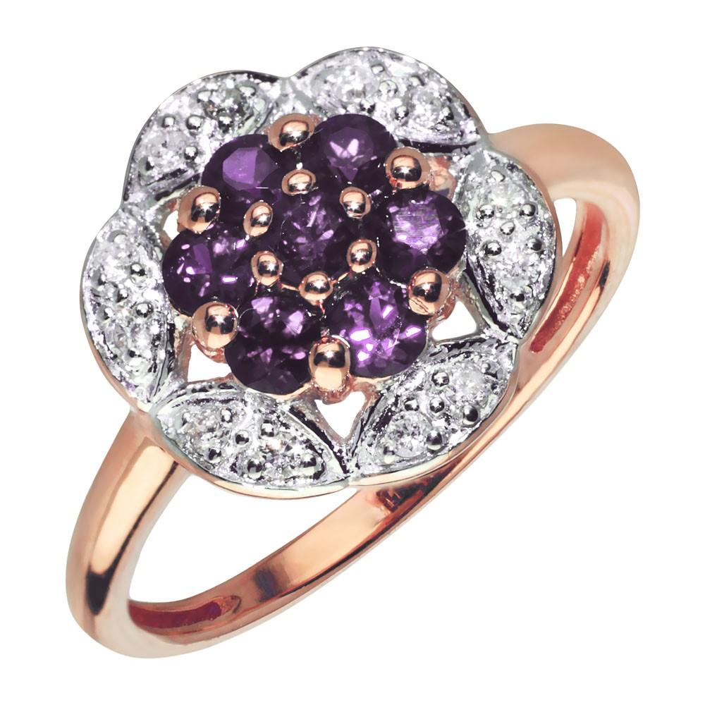 Кольцо из желтого золота с бриллиантом и аметистом