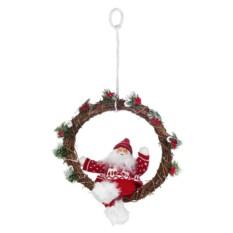 Новогоднее светящееся украшение Дед Мороз на венке