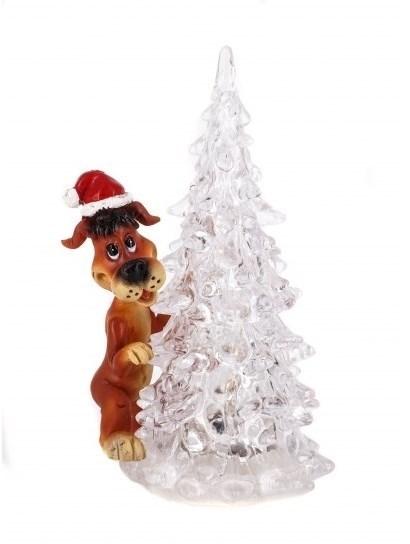 Фигурка с подсветкой Собака с елкой