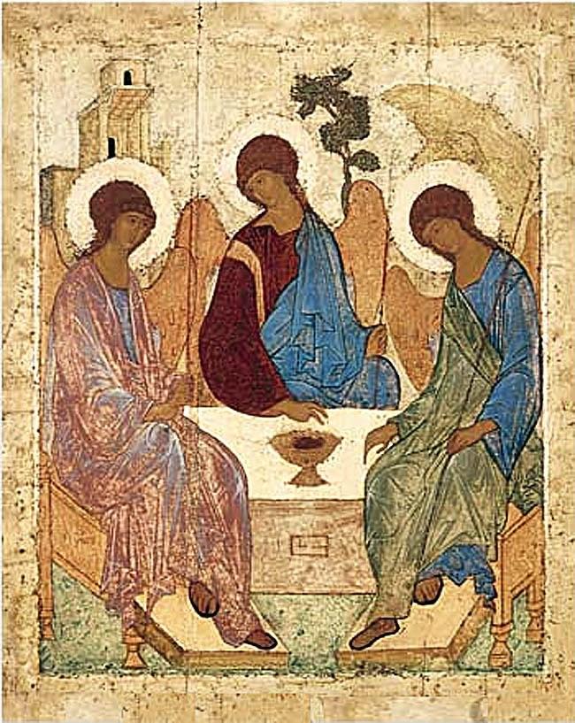 Копия иконы Андрея Рублева на доске Святая Троица