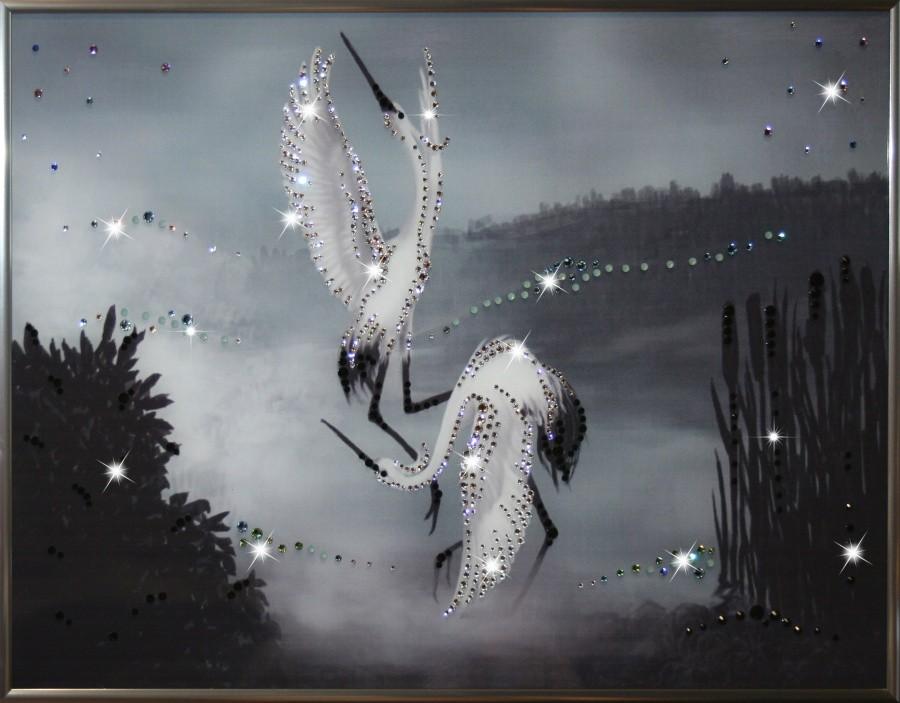 Картина с кристаллами Сваровски Танец журавлей