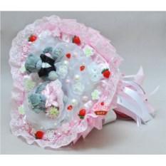 Розовый букет из мягких игрушек Свадебный